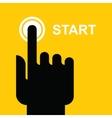 finger presses the start button vector image