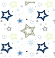 stars hearts blue green kids pattern vector image