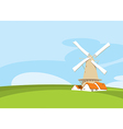 Windmill in nature vector image