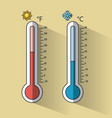 cold and hot thermometer temperature vector image