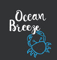 hand drawn lettering card - ocean breeze vector image