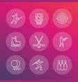 sports games team sport line icons set vector image