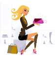 woman buying bag in mall vector image
