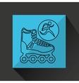 winner silhouette sport roller skate icon vector image