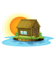 A bamboo house in the island vector image vector image