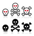 Cartoon skull with bones and hearts icon se vector image vector image