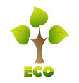 eco logo green tree vector image vector image