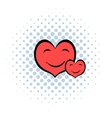 Smiling heart faces icon comics style vector image