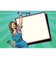 Advertising girl with poster vector image vector image