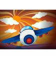 aeroplane and sun rays vector image