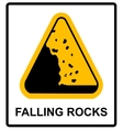 Falling rocks warning sign isymbol vector image