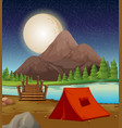 camping ground with tent by the river at night vector image