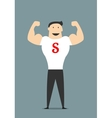 Cartooned flat businessman showing bicepses vector image