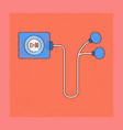 flat shading style icon player with headphones vector image
