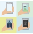 Set of 4 phone in hand vector image