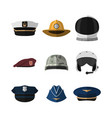 hats and helmets icon of cap in flat style vector image
