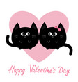 black round cat couple family icon pink heart vector image vector image