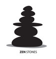 Zen stones black pebbles isolated on white vector image