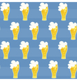 Seamless pattern beer glass on a blue vector image