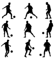 Different poses silhouettes of soccer players with vector image