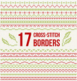 Cross-stitch embroidery - set of borders vector image