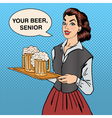 Waitress with Beer Woman Holding a Tray with Glass vector image vector image