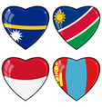 Set of images of hearts with the flags of Nauru vector image vector image