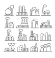 Factory and plant thin line icons vector image