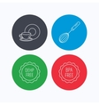 Food and drink whisk and BPA free icons vector image