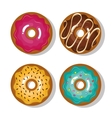 set icon donuts sweet isolated vector image