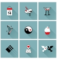 Set of flat design icons for Valentines day vector image