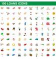 100 loans icons set cartoon style vector image