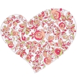 valentine heart in floral style isolated on vector image vector image