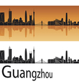 Guangzhou skyline in orange background vector image vector image