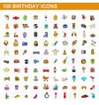 100 birthday icons set cartoon style vector image vector image