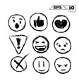 emojis and icons hand drawn isolated on white vector image