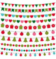 Christmas lights and decoration set vector image vector image