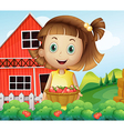 A girl harvesting at the strawberry farm vector image