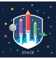 Art launch light bulb and pencil rocket with sky vector image
