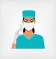 nurse with syringe in medical mask and gloves vector image