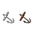old anchor hand ink drawing vector image