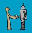 robot and human handshake vector image
