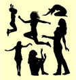 Female gesture action silhouette vector image
