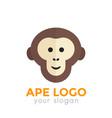 ape monkey logo element chimp icon on white vector image