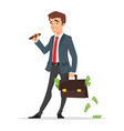 businessman holding a case full of money vector image