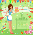 girl with birthday cake vector image