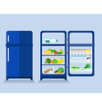refrigerator with the door closed and open vector image