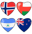 Set of images of hearts with the flags of Norway vector image vector image