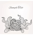 Black and white floral doodle card for Your design vector image