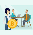 business people getting bitcoin coin for start up vector image